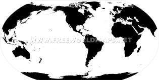 Map Of The World Black And White by America Centric World Map