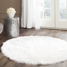 Shaggy Rugs For Living Room Amazon Com Safavieh Faux Silky Sheepskin Fss235a Ivory Round Area
