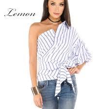 one shoulder blouse lemon 2017 one shoulder blouse shirt summer irregural striped