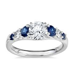 5 engagement ring graduated sapphire and engagement ring in 14k white gold