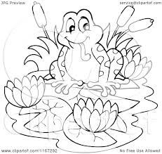 cartoon of an outlined frog with lotus flowers and lilypads