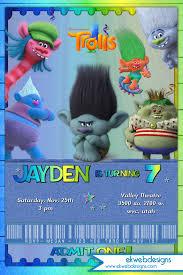 Birthday Invitation Card Kids Trolls Movie Birthday Invitation Boys Dreamworks Trolls Movie
