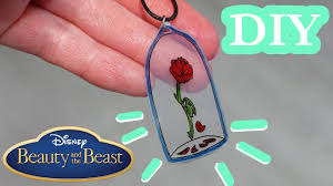 diy beauty and the beast necklace how to make rose pendant youtube