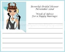 Words Of Wisdom Bridal Shower Game Breakfast At Tiffany Personalized Bridal Shower Advice Card