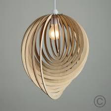 Spiral Pendant Ceiling Light Vintage Wooden Tear Drop Pendant Shade With Spiral Design