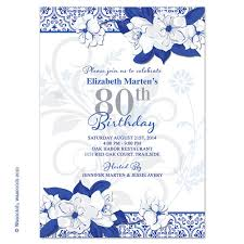 wild rose 80th birthday invitations royal blue by wasootch