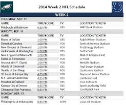 printable 2014 nfl week 2 schedule