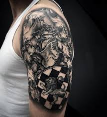 awesome painted black and white medieval knight armor shoulder