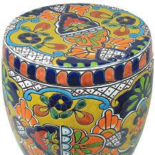 talavera garden stool mexican garden decor