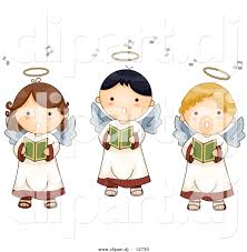 vector clipart of 3 cartoon singing angel boys and girls by bnp