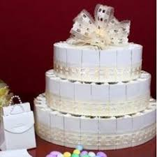 cake to go assembled in the shape of a three tier layer cake