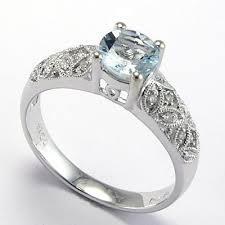 Aquamarine Wedding Rings by Anzor Jewelry 18k White Gold Aquamarine Diamond Engagement Ring
