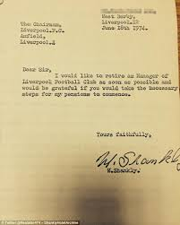 bill shankly u0027s letter of resignation as liverpool manager 40 years