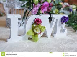 wedding decor love letters and on table fresh