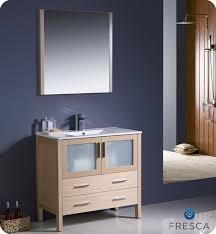 Bathroom Vanities Oak 36 Torino Light Oak Modern Bathroom Vanity W Integrated Sink