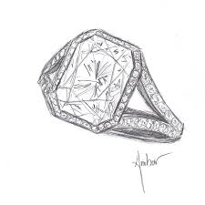 custom made engagement rings drawing for a radiant diamond