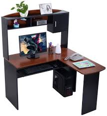 l shaped desk with hutch black f intended inspiration decorating