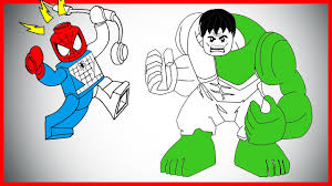 lego hulk and spiderman coloring page let u0027s color youtube