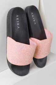 pink slides glittery slides with pink sparkles and black sole