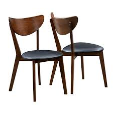 Set Of Two Dining Chairs Peony Retro Dark Walnut And Black Seat Dining Chairs Set Of 2