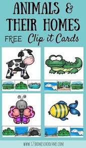 printable animal activities free animal homes clip it cards preschool and kindergarten age