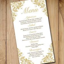gold wedding menu card template wedding from paintthedaydesigns