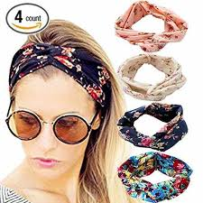 dreshow 4 pack 1950 s vintage flower headbands for women twist
