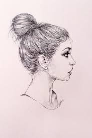 messy bun sketch art work art pinterest