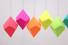 geometric paper ornaments neon bright rainbow set of 8