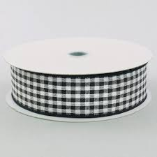 black and white wired ribbon 1 5 wired gingham ribbon black white 25 yards 212 9 31