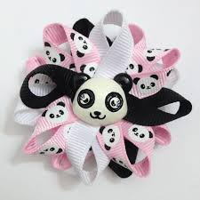 handmade hair bows panda 2 5 handmade hair bows pink white black hairbows