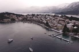 enjoy the view aerial video of cavtat under the snow just dubrovnik