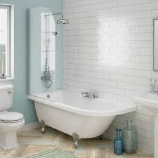 standard shower baths available online now from victorian plumbing appleby 1700 roll top shower bath with screen chrome leg set medium image