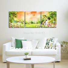 paint for kids room forest harp fairy multi panel paintings wall art canvas print oil