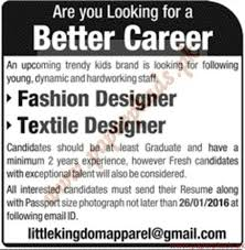 Resume For Fashion Designer Job by Fashion Designers And Textile Designers Jobs Jang Jobs Ads 17