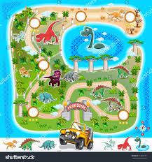 Zoo Map Game Assets Prehistoric Zoo Map Collection Stock Vector 313838153
