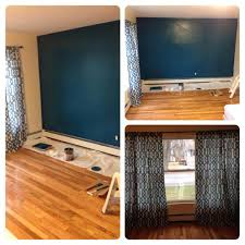 accent wall in living room behr peacock tail window treatment