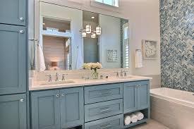 white shaker bathroom cabinets eye catching blue shaker dual vanity transitional bathroom at