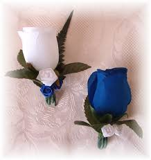 Royal Blue Boutonniere Silk Wedding Flowers Silk Bridal Bouquets