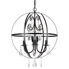 Orb Light Fixture by Luna Black Crystal Globe Plug In Chandelier Amalfi Decor
