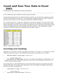 excel count and sum microsoft excel computing