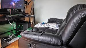 pc gaming from a recliner sofa it works youtube