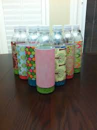 diy bowling pins empty water bottles scrapbook paper colored