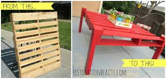 Patio Furniture Pallets by Restoration Beauty Making An Outdoor Table From A Pallet
