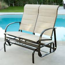 Loveseat Glider Outdoor Glider Patio Chair Loveseat With Padded Sling Seats In