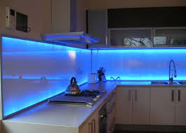 Modern Kitchen Wall Cabinets Interior Glass Kitchen Backsplash Combined With Blue Led Light