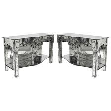 pair of 1940s antique venetian etched mirror consoles or side