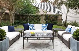 Wicker Patio Coffee Table Gray Wicker Outdoor Sofa With Black And White Striped Umbrella