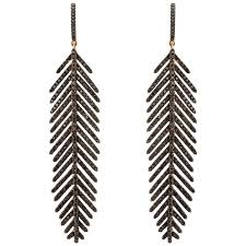 black feather earrings gold and black diamond feather earrings for sale at 1stdibs
