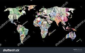 Map Note World Countries Currency Map Finance Money Stock Illustration